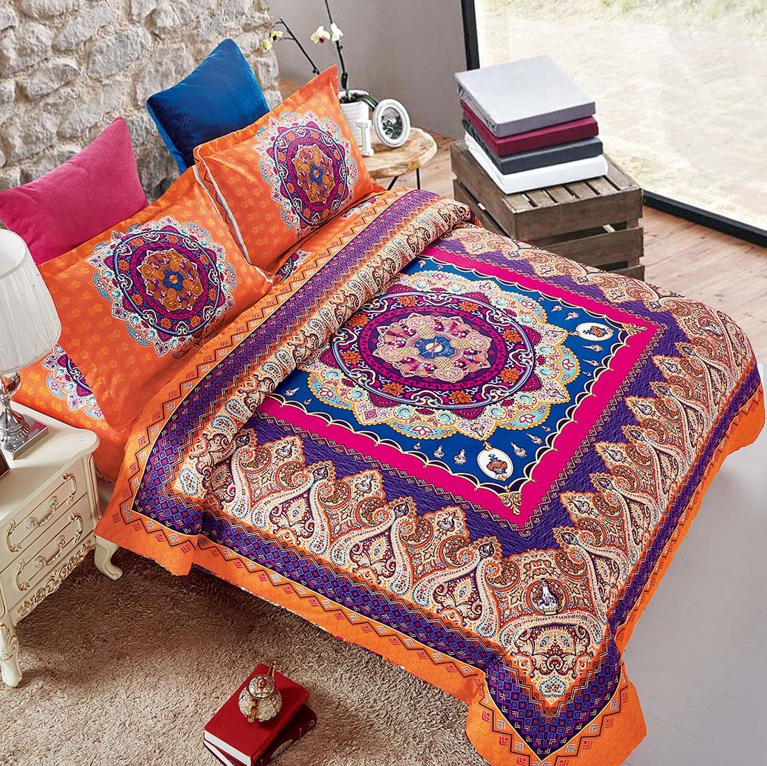 Wake In Cloud - Mandala Comforter Set Queen, 3-Piece Orange Bohemian Boho chic Medallion Pattern Printed, Soft Microfiber Bedding (3pcs, Queen Size)