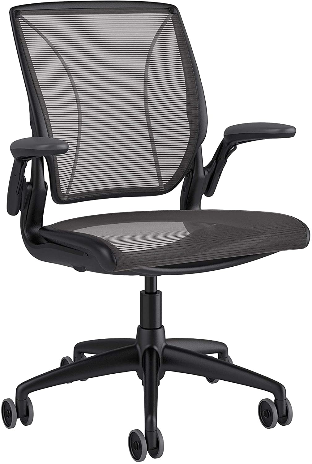 Humanscale Diffrient World Chair | Pinstripe Black Mesh Seat and Back | Black Frame with Black Trim | Height-Adjustable Duron Arms | 3