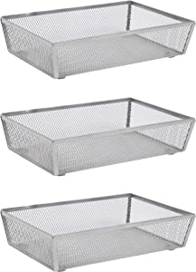 """Finnhomy Mesh Drawer Organizer Shelf Storage Bins School Supply Holder Office Desktop Cabinet Sliver 6""""x 9"""" - 3 Pack"""