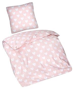 Aminata Kids Kinder Bettwasche Set 135 X 200 Cm Herz Motiv 100