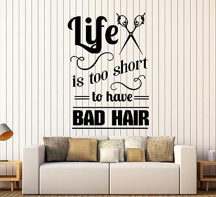 Amazon.com: Large Vinyl Wall Decal Hair Salon Quote ...