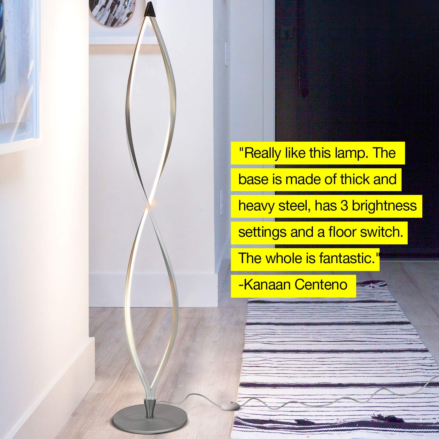 Brightech Twist - Modern LED Living Room Floor Lamp - Bright Contemporary Standing Light - Built in Dimmer Switch with 3 Brightness Settings - Cool, Futuristic Lighting - Silver by Brightech (Image #8)