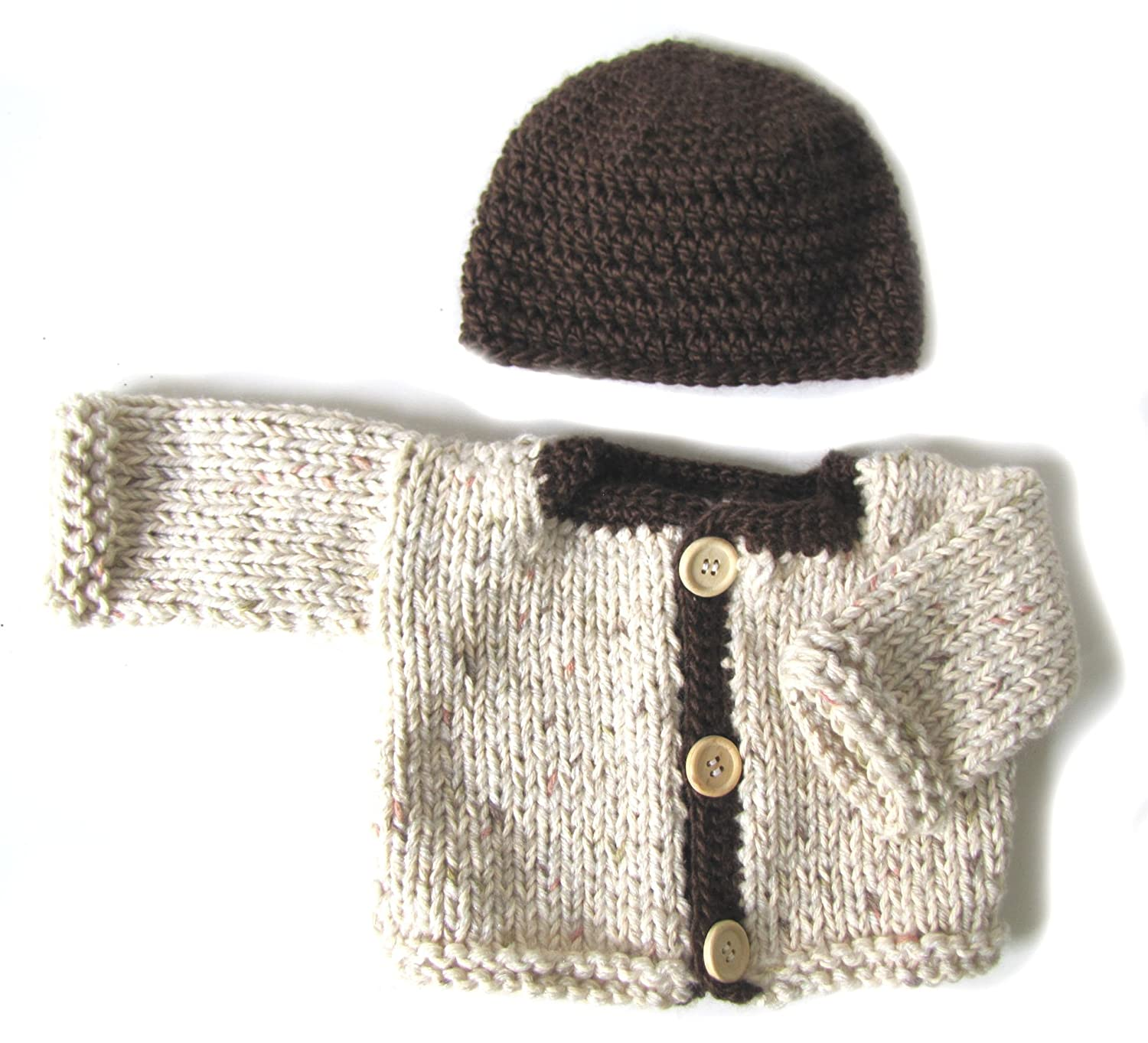 KSS Handmade Earth Beige with Brown trim Cardigan /& Hat 3 Months