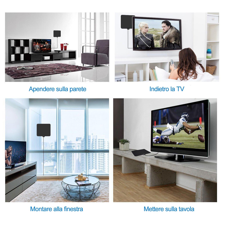 Globmall Interna Antenna TV, 80KM Gamma Antenna per Digitale TV con Staccabile Amplificatore Ripetitore del Segnale, con 4 metri Alte Prestazioni Cavo Coassiale per Canali Locali supportto 1080P Digital TV Broadcast