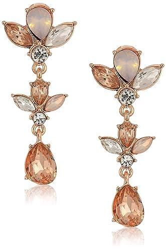 e62f56acb2882 Amazon.com: Anne Klein Women's Crystal Linear Clip Earrings, Rose ...