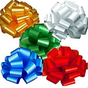 """Gold, White, Green, Blue, Red Pull Bows for Large Christmas Gifts - 9"""" Wide, Set of 5, Decor for Presents, Birthday, Holiday Embellishments, Boxing Day, Fundraiser, School Dance"""