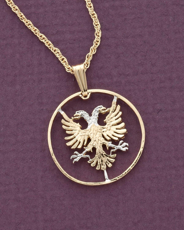 # 940 Albanian Eagle Pendant Hand cut Albania 5 Lek coin 1 in diameter,