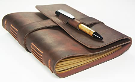 Leather Journal Travel Diary with Bamboo Style Pen - Artisan Grade - Handmade Leather Journal by Case Elegance