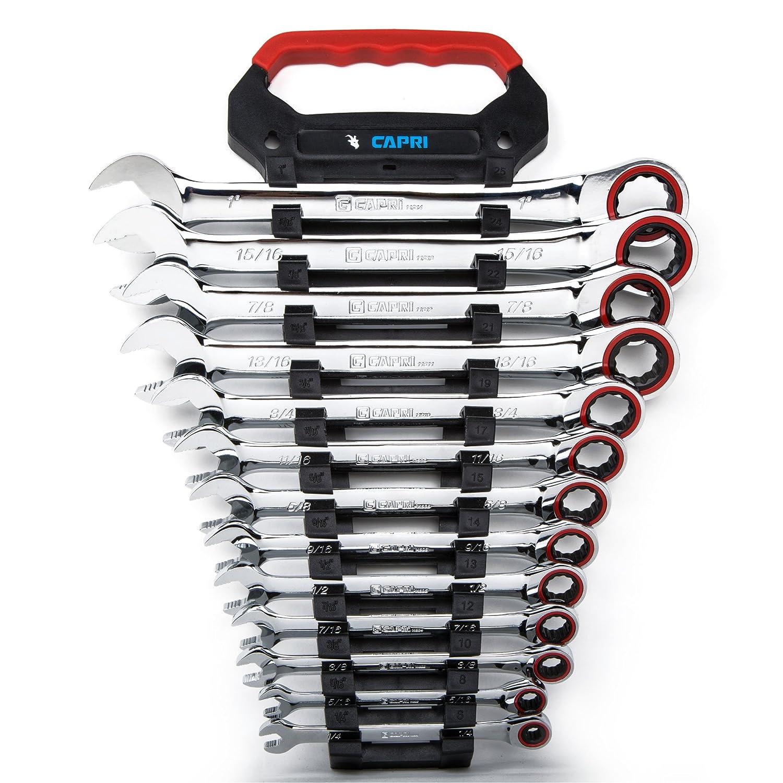 Capri Tools(カプリツールズ) CP11600RK ラチェットコンビネーションレンチセット 100ギア 送り角度3.6° 1/4~15/16インチ 13点レンチラックがつき B074JGWT1C