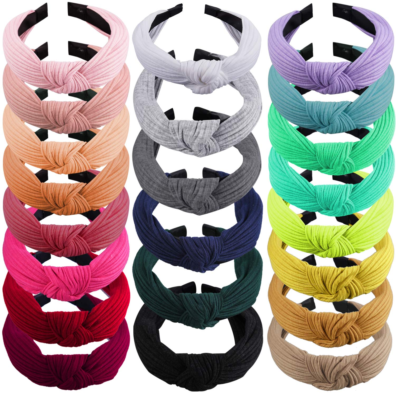 22 Pieces Headbands for Women Top Knot Turban Headbands Wide Plain Headband Hair Accessories for Women Girls, 22 Colours