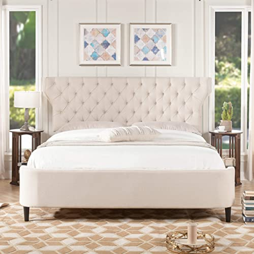 Jennifer Taylor Home Cheryl Tufted Curved Back Headboard Panel Bed - the best modern headboard for the money
