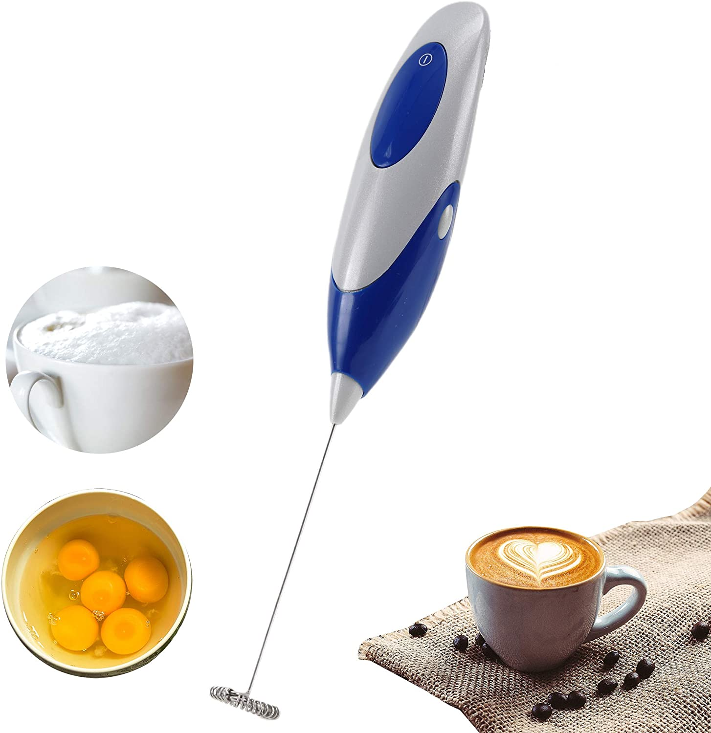 Mini Handheld Electric Blender, Electric Coffee Mixer, Milk Frother, Egg Beater, AA Battery Powered High-Speed Electric Blender (Blue)