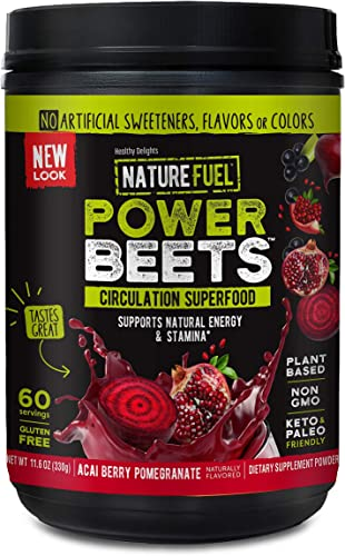 Nature Fuel Power Beets Super Concentrated Circulation Superfood Dietary Supplement Delicious Acai Berry Pomegranate Flavor Non-GMO Beet Root Powder, 60 Servings