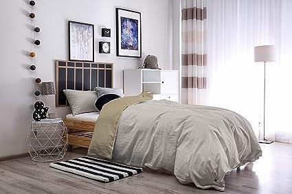 Italian Bed Linen Natural Color Parure Copripiumino con Sacco e Federa,  100% Cotone, Tortora/Panna, Singolo, 150 x 200 cm, 2 unità