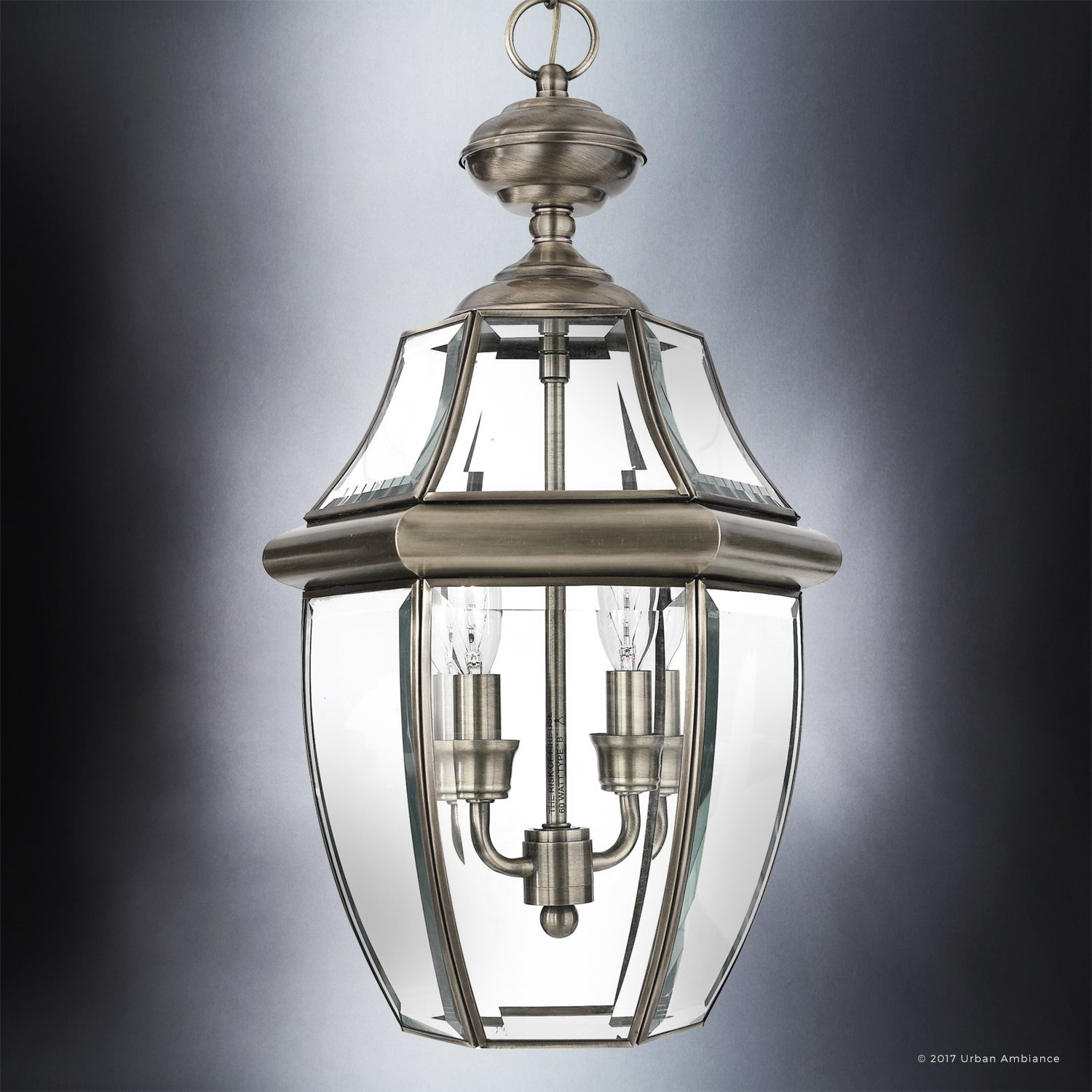 Luxury Colonial Outdoor Pendant Light, Large Size: 19''H x 11''W, with Tudor Style Elements, Versatile Design, Classy Aged Silver Finish and Beveled Glass, UQL1158 by Urban Ambiance by Urban Ambiance (Image #3)