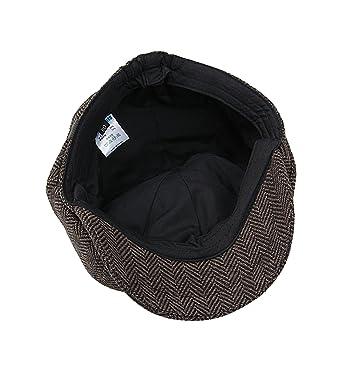 f891258116d Sumolux Mens Tweed Cap 8 Panel Charcoal Herringbone Irish Caps Newsboy Ivy  Linen Snap Brim Hat  Amazon.in  Clothing   Accessories