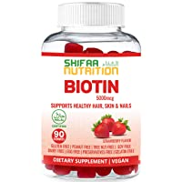 Vegan High Potency Hair Growth Biotin Gummies by SHIFAA NUTRITION - Hair Skin and Nails Vitamins for Women, Kids, Men - Gummy Vitamins Prevents Hair Loss - 5000 mcg Non-GMO - Halal Vitamins 90 Count
