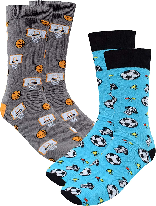 Football /& Basketball Sports 2 Pack Mens Novelty Crazy Dress Crew Socks
