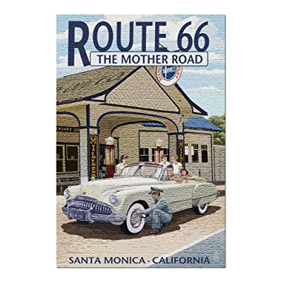 Santa Monica, California - Route 66 - Service Station (Premium 500 Piece Jigsaw Puzzle for Adults, 13x19, Made in USA!): Toys & Games