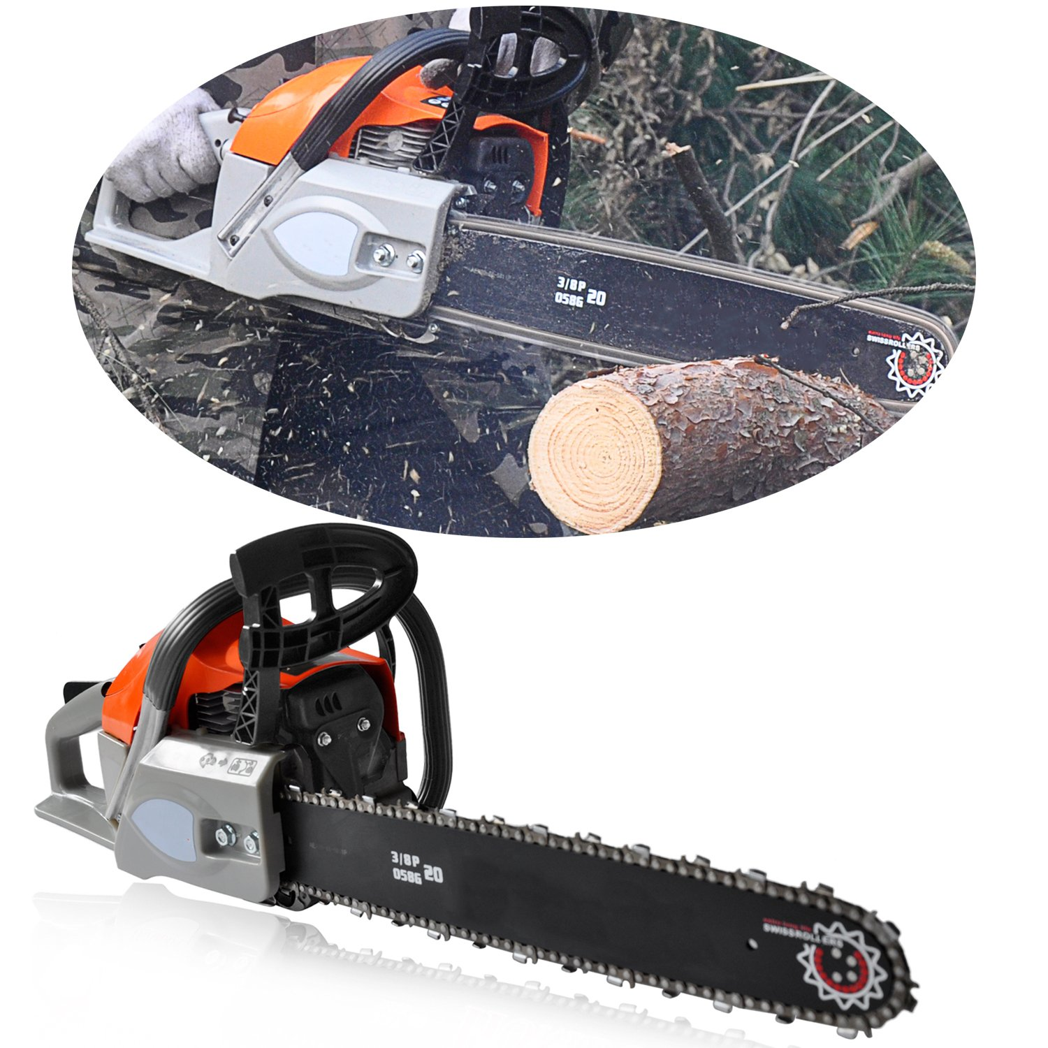 ncient ChainSaw 20'' 62CC Gas Powered Chain Saw 2 Stroke Handed Petrol Chainsaw with Smart Start Super Air Filter System and Automatic Oiling and Tool Kit [US STOCK] (62CC)