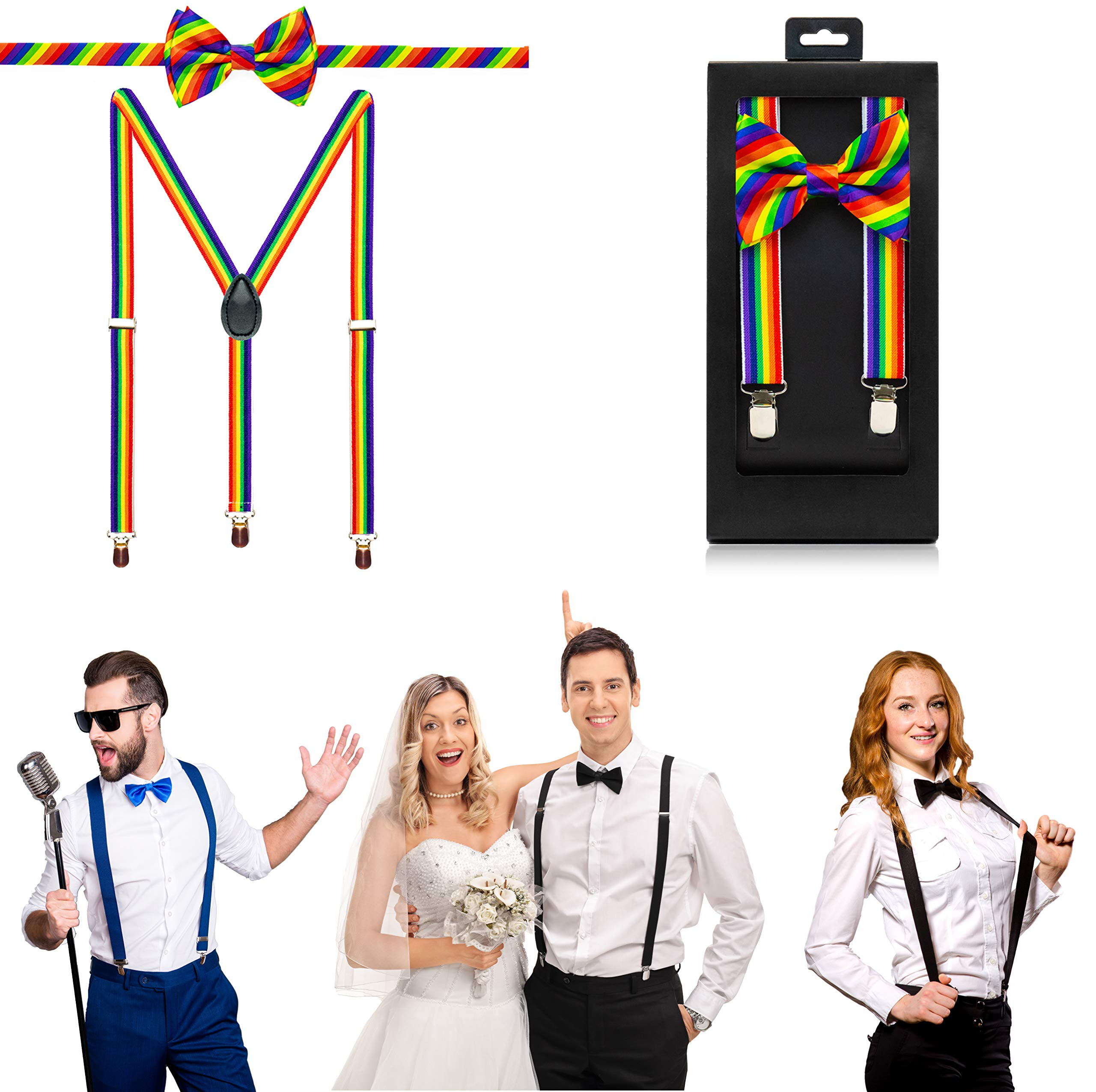 McWay Bowtie and Suspender Set For Men, Adults | Premium Quality | With Gift Box | Wide And Adjustable | Classy Design (Rainbow)
