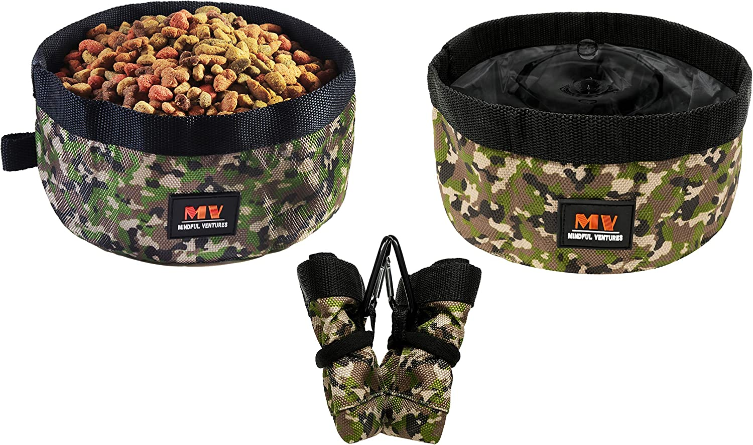 Mindful Ventures Collapsible Dog Bowl | 2 Pack | Portable Dog Water & Food Bowls | Travel Hiking Gear | Foldable & Clip | Perfect for Medium to Large Dogs | Waterproof Fabric
