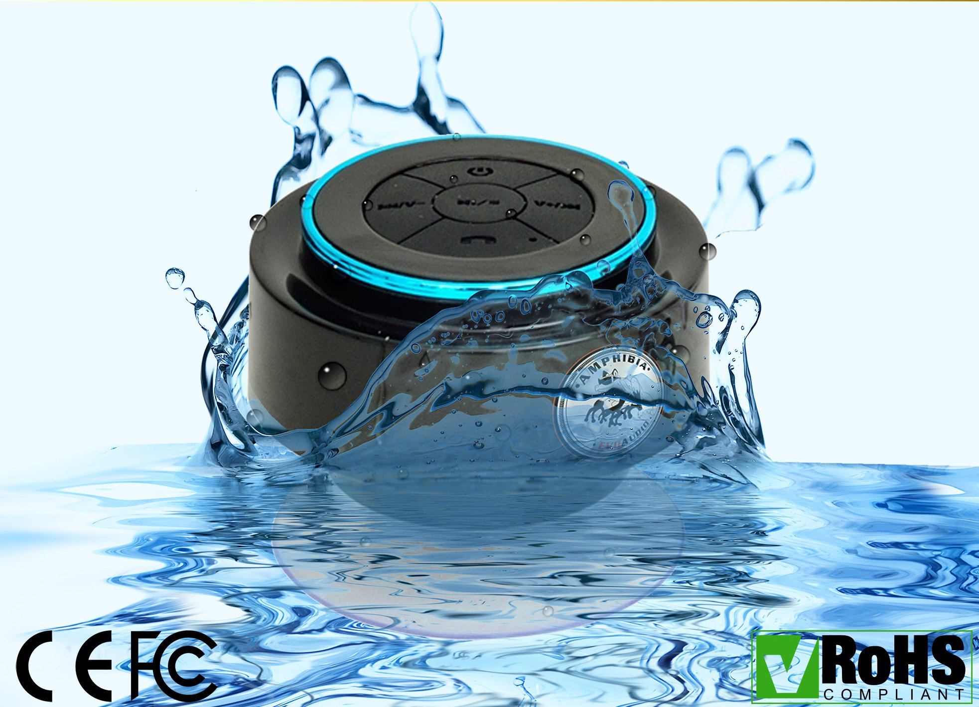 EVOs Bluetooth Shower Speaker + Handsfree AnswerPhone + FM RADIO - Wireless Portable & Pairs Easily To All Your Bluetooth Devices - iPhones Androids Tablets Computer - FULLY WATERPROOF Great Gift!
