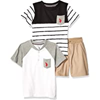 U.S. Polo Assn. Baby-Boys P187310WH 3 Piece Short Sleeve T-Shirt, Henley, and Short Set Shorts Set - White