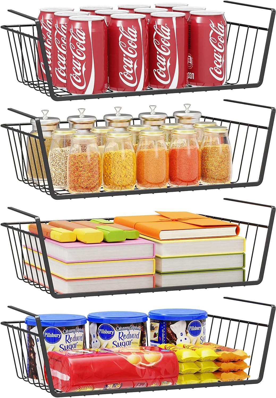 Under Shelf Storage Basket, Tidyway 4 Pack Hanging Basket Wire Rack, Home Storage Slide-in Organizing Basket, Under cabinet Extra Space Added Baskets for Kitchen Pantry Cabinet, Easy to Install, Black