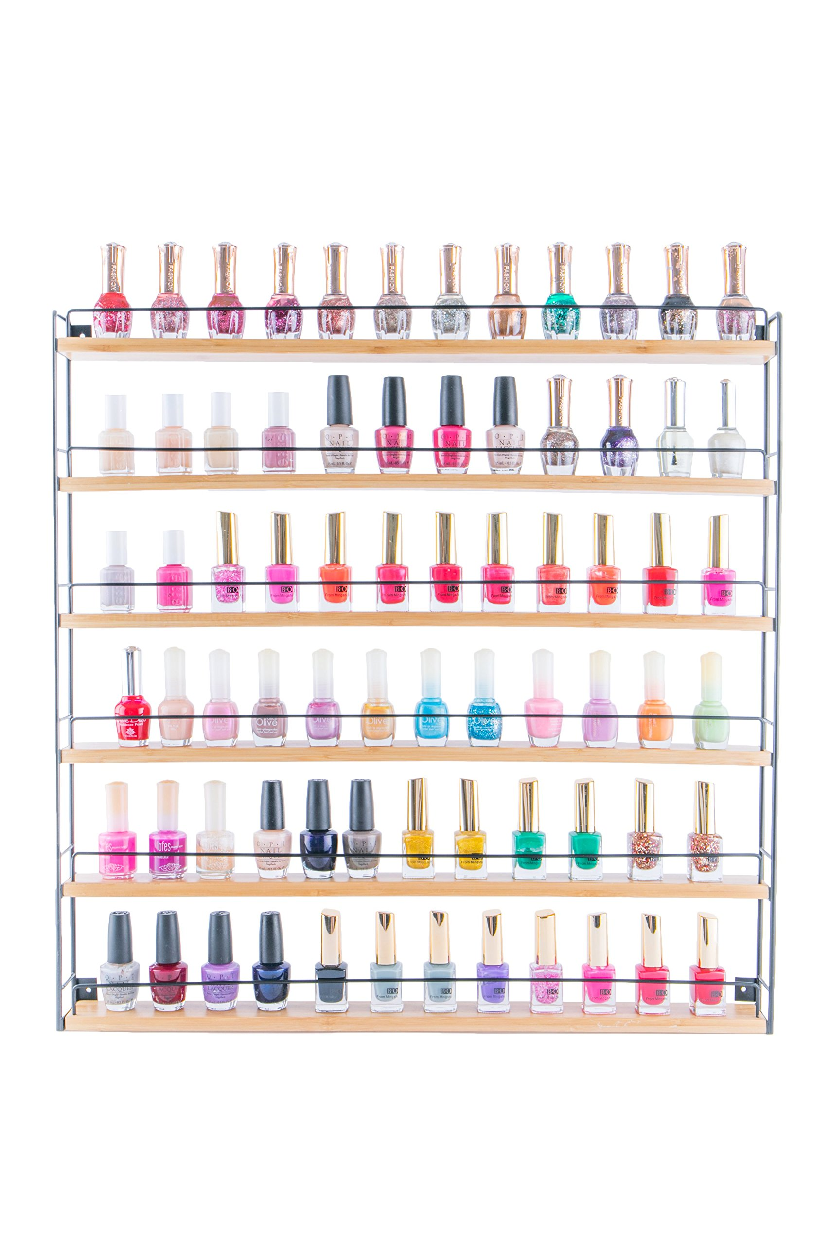 JackCubeDesign Bamboo 6-Tier Wall Mount Nail Polish Rack Organizer Display Shelf Holder Makeup Cosmetics Stand Hanger Storage Case Box with 6 Tiers - :MK278A