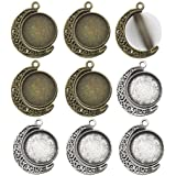 Fit 18mm Moon Rotation Double Side Round Blank Bezel Pendant Trays Base Cabochon Settings Trays Pendant Blanks Jewelry Making DIY Findings M133 (Moon Shape)