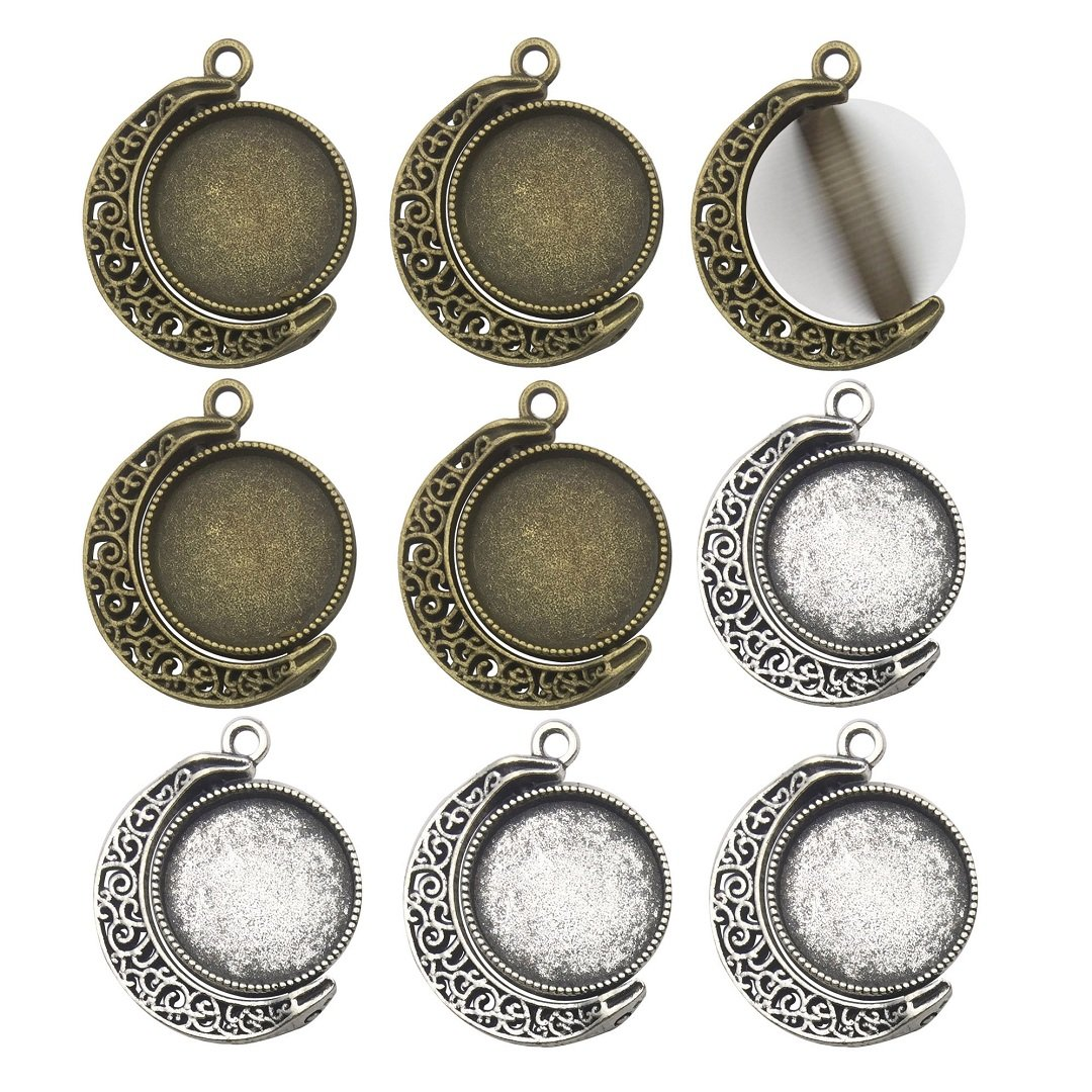 Fit 18mm Moon Rotation Double Side Round Blank Bezel Pendant Trays Base Cabochon Settings Trays Pendant Blanks Jewelry Making DIY Findings M133 (Moon Shape) ilovediybeads