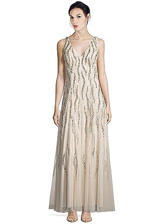 Amazon.com: Aidan Mattox V-Neck Sequin Beaded Godet Evening Gown ...