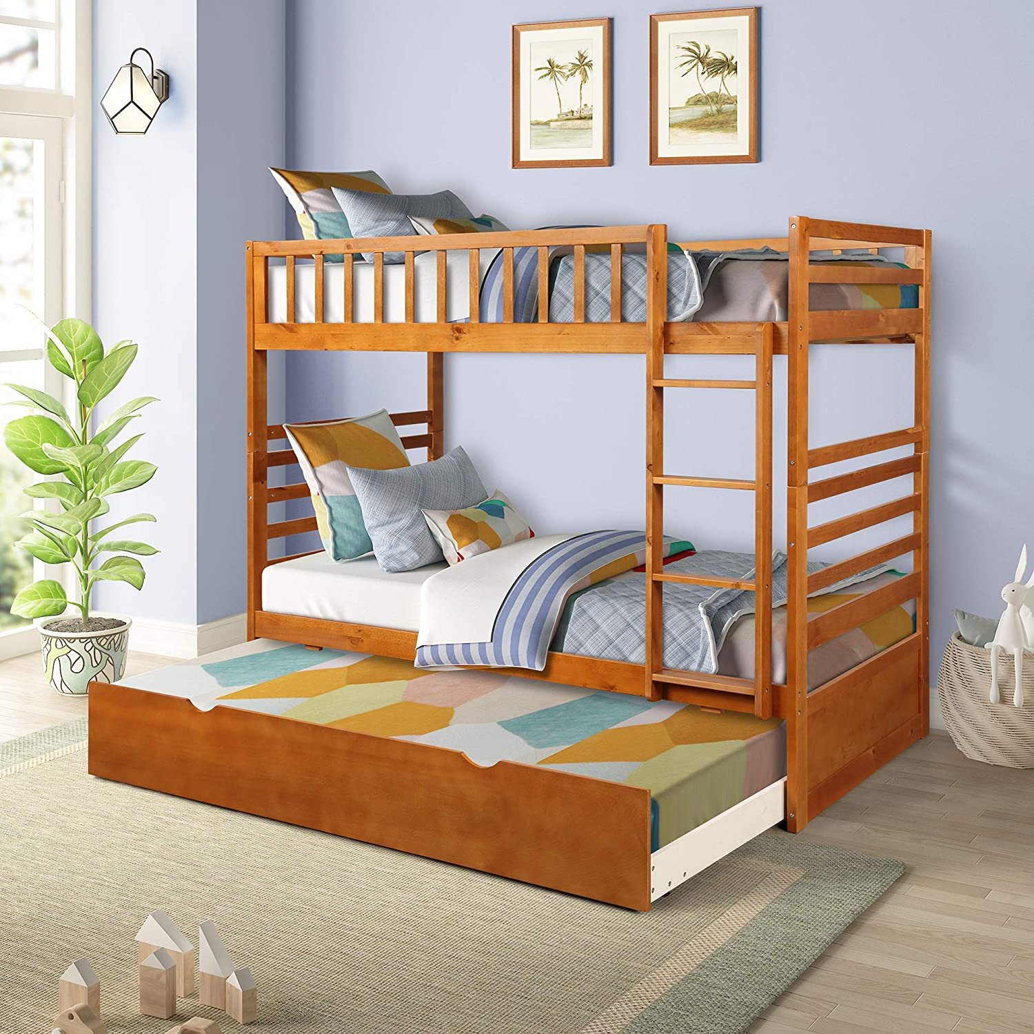 Merax Twin-Over-Twin Bunk Bed for Kids, Solid Wood bunk beds with Trundle Beds Ladders and Safety Rail Oak