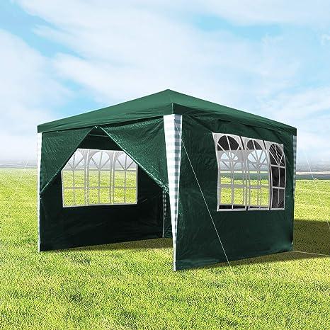 wolketon Carpas de Jardin 3x3m Verde Pabellones con 4 Partes Laterales Carpa de Fiesta Azul para Bodas y Festivales de Camping