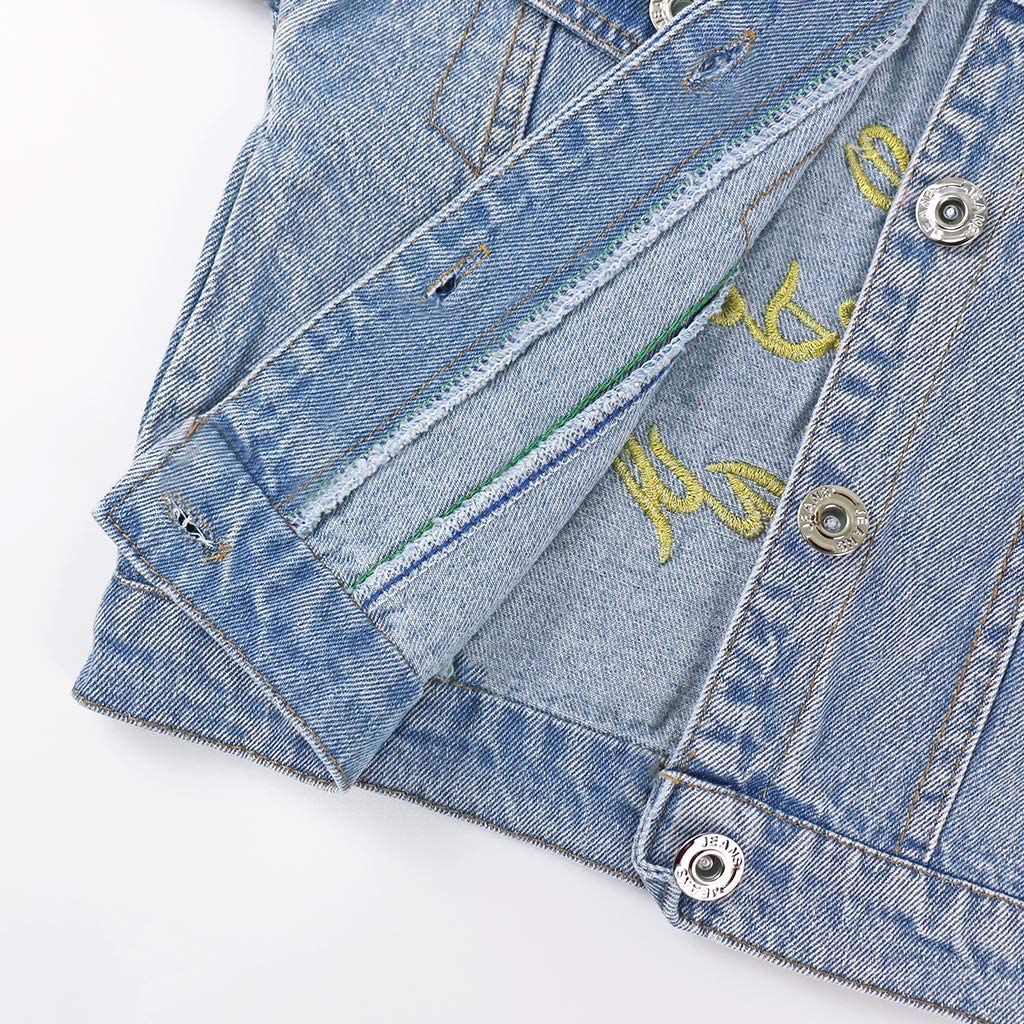 Baby Girls Denim Jacket Children Blue Jean Coat Infant Flower Jeans Outwear Spring Autumn Kids Clothes 1-2 Years