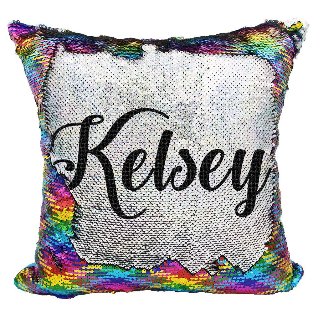 YUUNITY Personalized Mermaid Reversible Sequin Pillow, Custom Unicorn Sequin Pillow for Girls(Rainbow/Silver) by YUUNITY