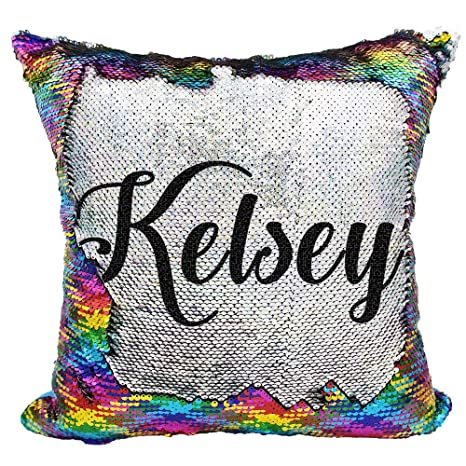 White//Black Custom Unicorn Sequin Pillow Gifts for Girls YUUNITY Personalized Unicorn Reversible Sequin Pillow