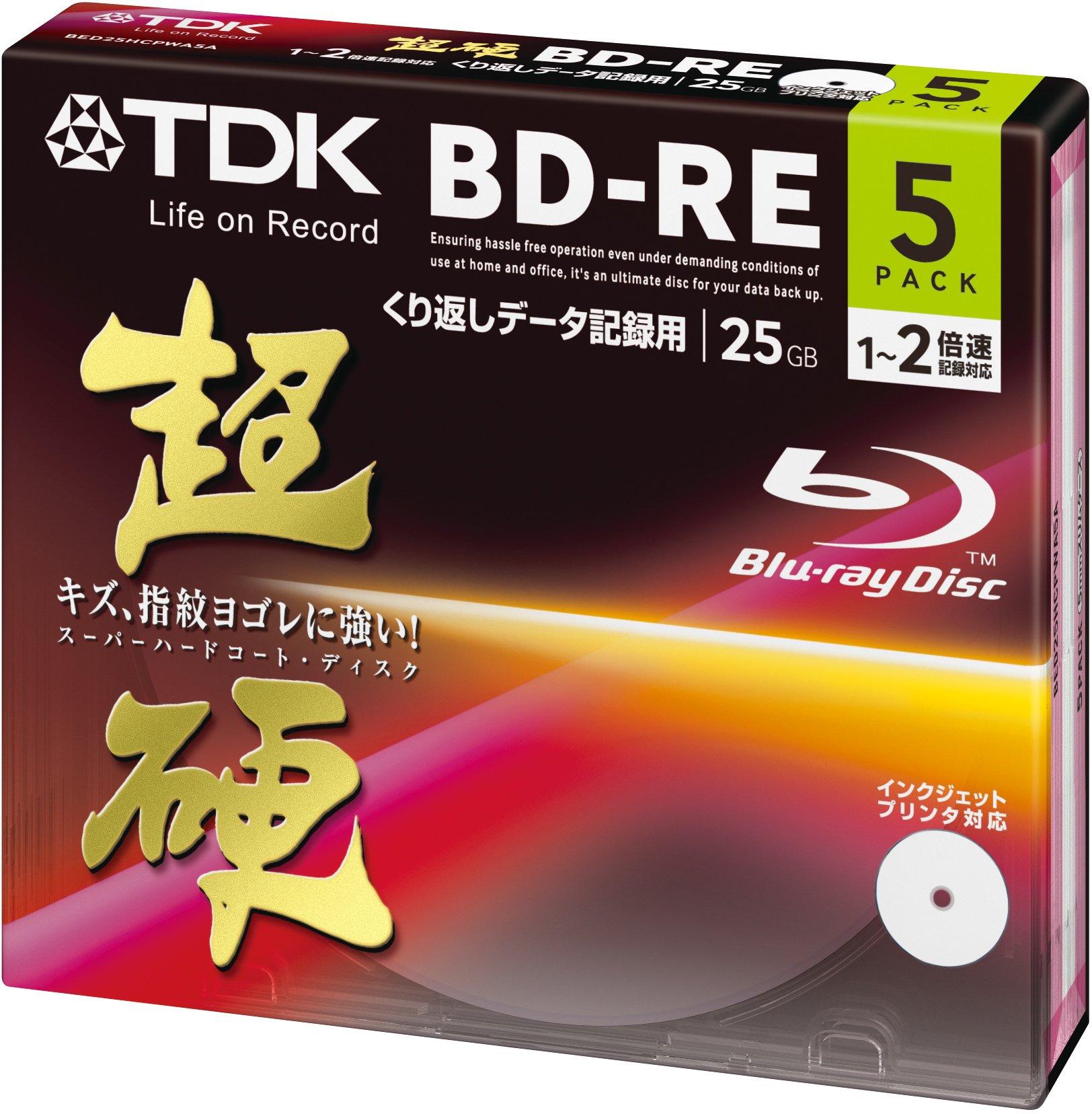 TDK Blu-Ray BD-RE Rewritable Ver. 2.1 25GB 2x Speed - 5 Pack Slim Case - EXTRA HARD COATING by TDK (Image #1)
