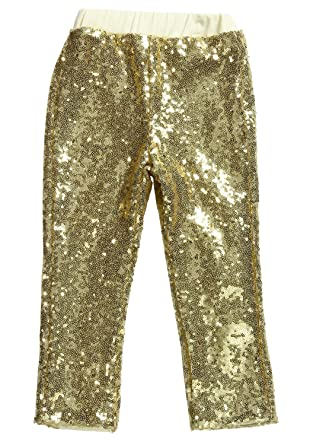 97ec1e7fd0bd9 Amazon.com: Cilucu Leggings for Girls Boys Toddler Sequin Gold Pants Kids  Birthday Clothes Sparkle on Both Sides: Baby