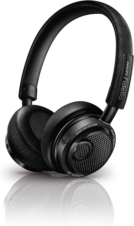 Philips Fidelio M2BTBK/00 - Auriculares Bluetooth inalámbricos (Hi-Res, diseño Premium, Controles intuitivos, Almohadillas de Espuma de Memoria), Negro