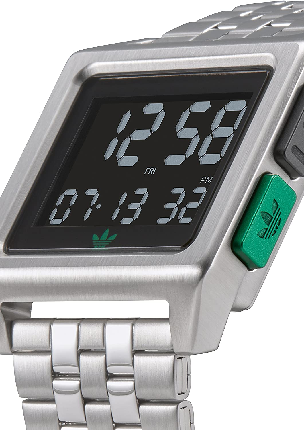 Adidas Watches Archive_M1. Men's 70's Style Stainless Steel Digital Watch with 5 Link Bracelet (36 mm). Silver/Black/Green