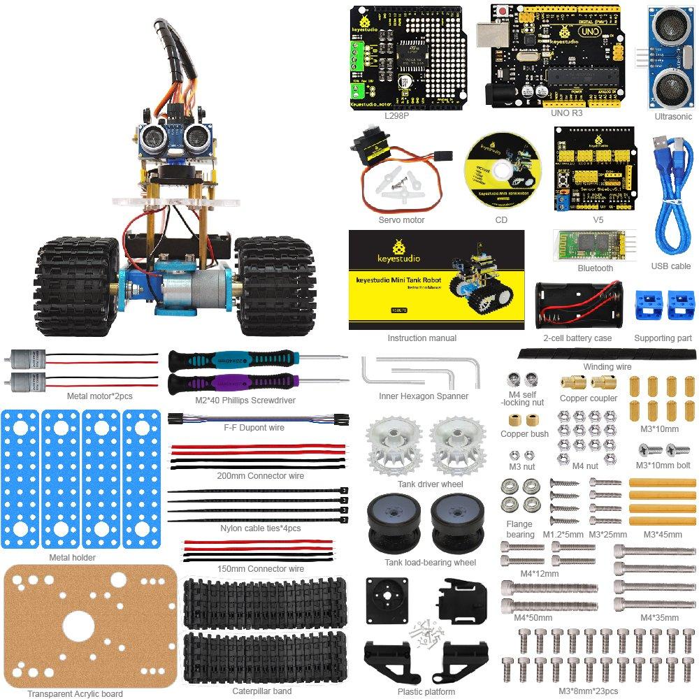 Keyestudio Mini Tank Robot For Arduino Diy Smart Car Micro Servo Wiring Diagram Kit With Uno R3 Board And Tutorial Great Educational Stem Toys Boys Girls
