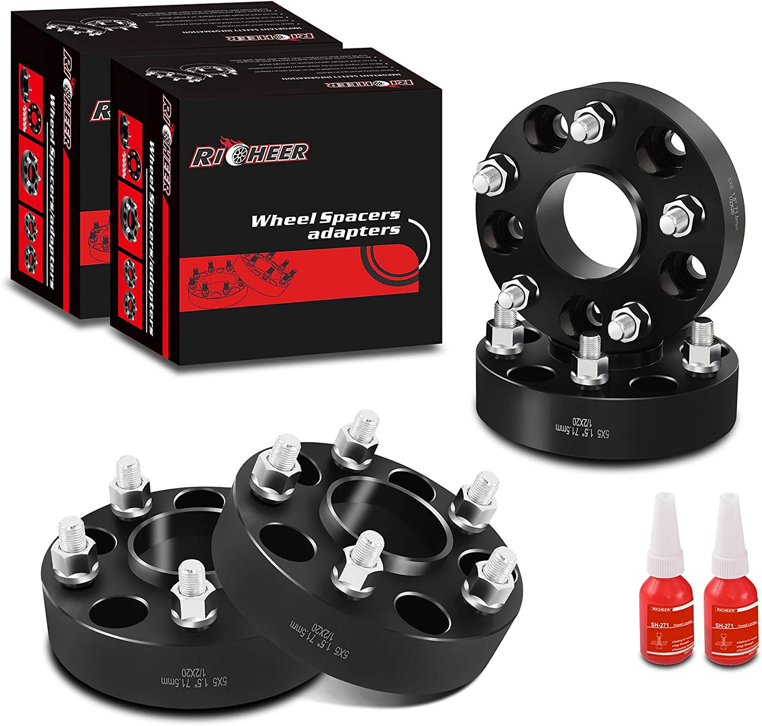 1999-2010 Grand Cherokee WJ WK Richeer 1.5 Forged Hubcentric 5x5 Wheel Spacers for Jeep JK WJ WK XK,1//2-20 Studs/&71.5 mm Bore for 2007-2018 Jeep Wrangler JK 2006-2010 Commander XK