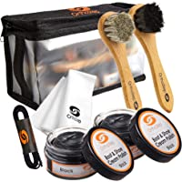 7pc Full Leather Shoe Polish Kit – 2x Brush, Buffing Cloth, Travel Case, Laces