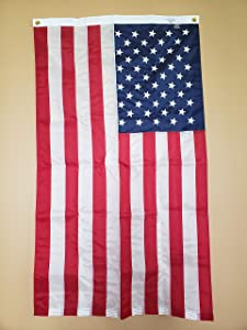 Lakeshore Trade American Flag-Nylon, Embroidered Stars and Sewn Stripes, Brass Grommets-Made in USA, FMAA Certified (2.5x4 ft)