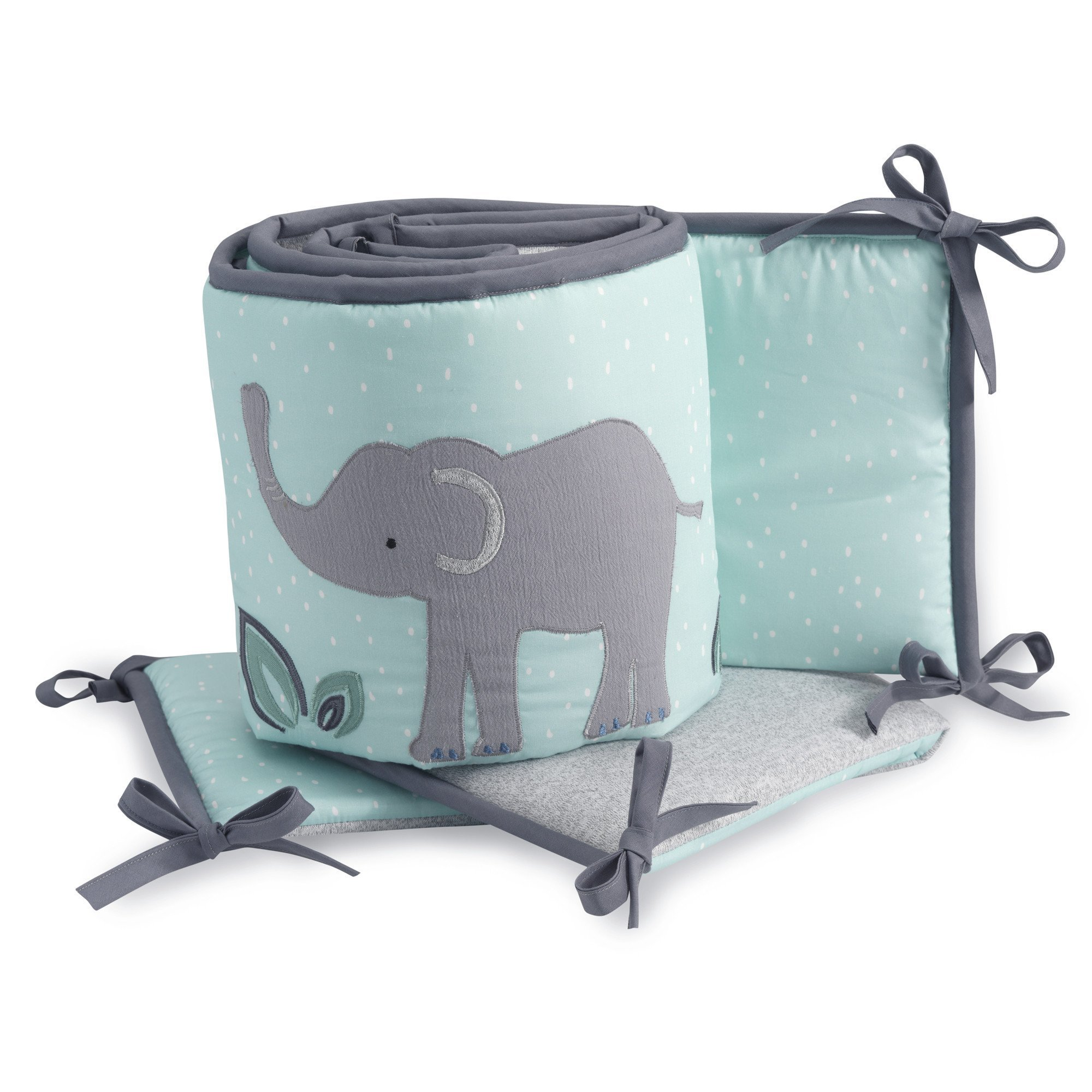 Lambs & Ivy Animal Crackers 4 Piece Jungle Crib Bumper, Gray/Blue