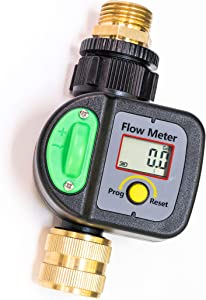 Krageröd – Garden Hose Water Meter | Measure in Gallons or Liters | Use with Garden Water Timer to Measure The Exact Amount of Water Used in Outdoor Irrigation | Simple Intuitive Design |