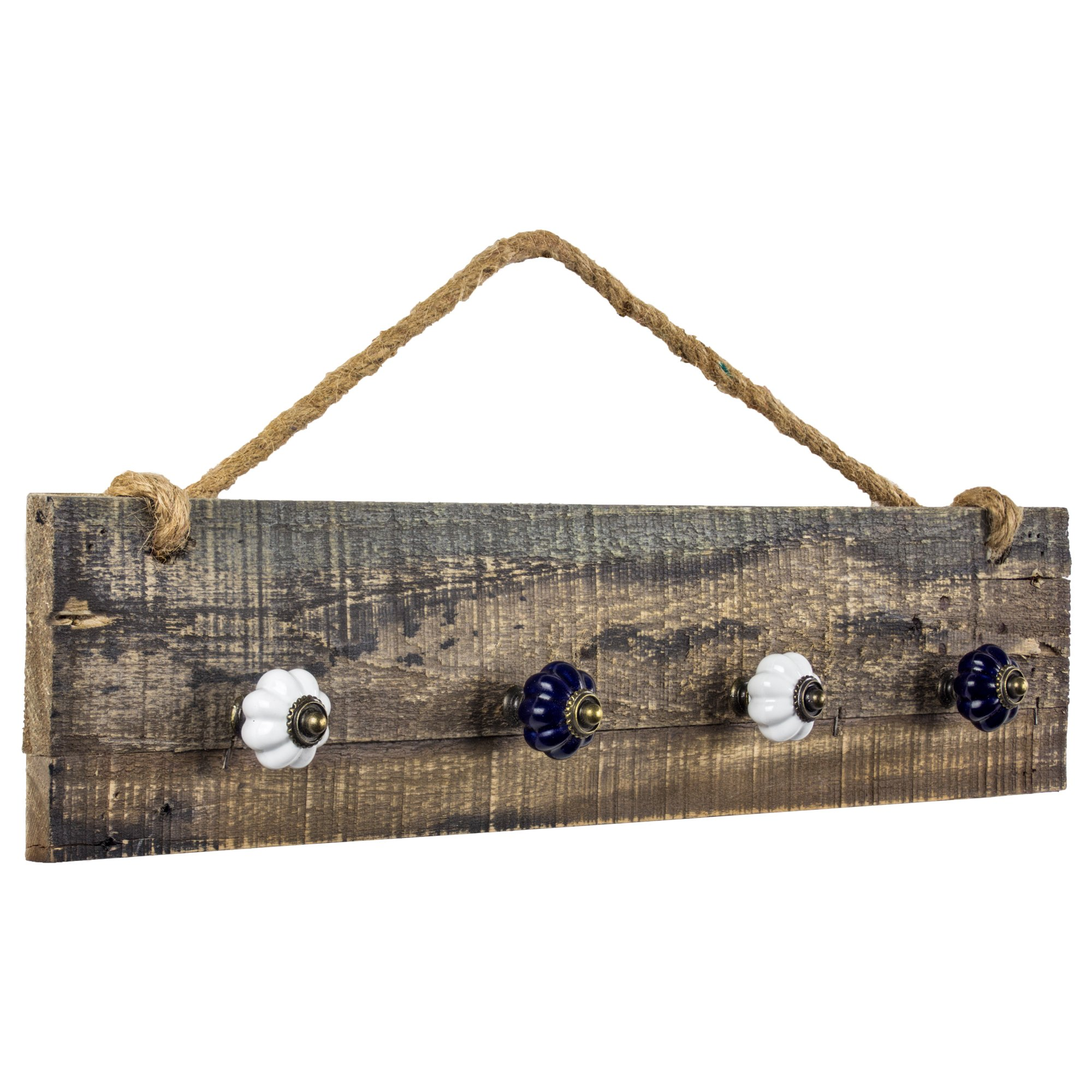 American Art Décor Rustic Wood Hanging Jewelry Necklace Organizer with Hooks