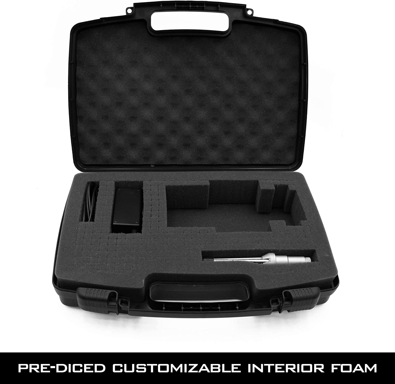 CASEMATIX Travel Case Compatible with Zoom H8 Handy Recorder CASE ONLY Padlock Rings /& Accessory Storage Hard Shell Carrier for Audio Recorder and Accessories with Customizable Foam Interior